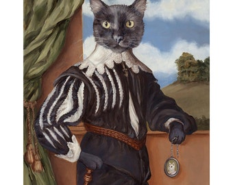 Black Cat Canvas Prints,  Renaissance Cat In Clothes Pet Portrait