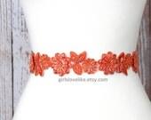 Orange Beaded Lace Sash Belt, Orange Bridal Sash, Bridesmaid Sash, Flower Girl Sash Belt.