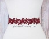 Burgundy or Wine Pearl Beaded Lace with Satin Ribbon Sash, Bridal Burgundy Sash, Bridesmaid Sash,Flower Girl  Sash, Burgundy Lace Headband