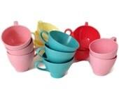 Mid Century Melamine -Coffee Cups-Multiple Colors Styles-60's-Vintage Kitchen-Melmac-Dinnerware-Housewares-Plastic Cups