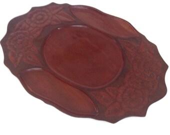 Vintage Mahogany Tray Wood Tray Carved Wooden Tray Large Serving Tray Home Decor Dark Wood Tray Divided
