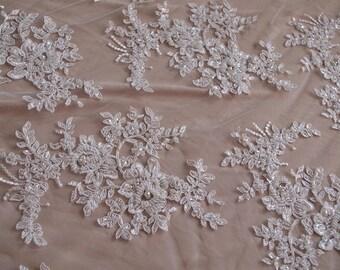 Vintage alencon lace fabric