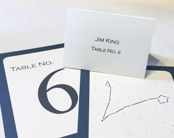 Wedding Escort Cards / Place Cards (set of 25) / Serif Typeface / Coordinates with Constellation Table Numbers / Cream, Bi-fold Table Tents