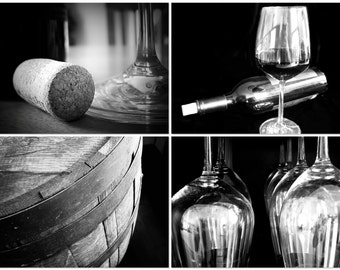 Restaurant Kitchen Photography wine photography print set sepia wine art winery california