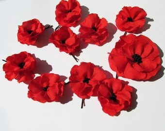 Beautiful Red Poppy Bobby Pin 3 inches, Silk, Prom, Maid of Honor, Bride, Birthday Gift. Perfect for any special occasion.