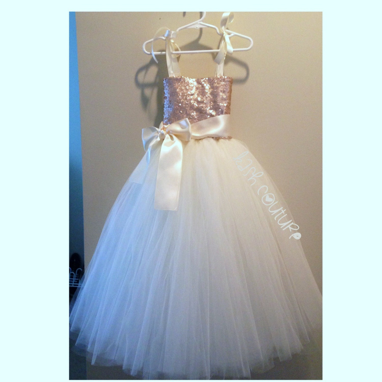 Champagne and Ivory Flower Girl Dress by KashCoutureKidtique