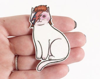 Bowie Halloween Cat Brooch David Bowie Cat Pin -  cat pin - Halloween Pin - cat jewelry-Unique Boutonnière