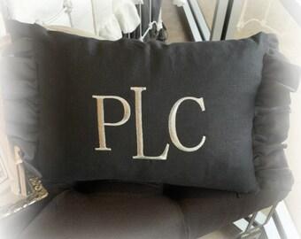 Linen Ruffled Lumbar Pillow