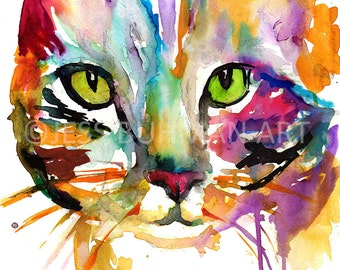 "Tabby Cat Watercolor Painting Print, 18 x 24 poster, ""Tabby Cat"" by Jess Buhman, Watercolor Cat, Watercolor Nursery, Cat Watercolor, cat art"