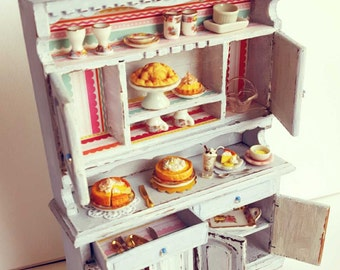 Cottage shabby blue cupboard | Dollhouse miniature furniture | Cottage chic style | One of a kind | 1/12 scale