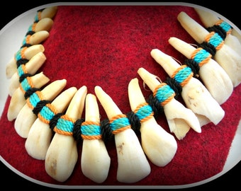 Tribal Bone Tooth Necklace