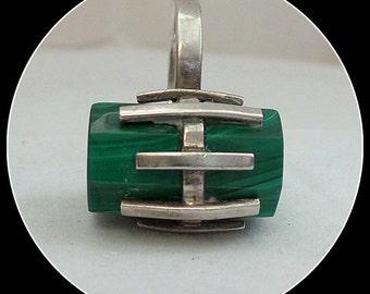 Vintage Sterling Malachite  Ring