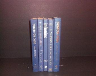 Shades of Blue Decorative Books Decoration - Shades Blue Colors Home Decoration -5 books