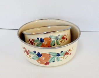 Vintage Enamel  Bowls Set of Two