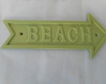 Cast iron beach sign with matching screws / beach decor / nautical decor