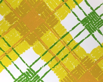 Yellow Plaid Wallpaper Roll made by Philip Graf, Great Scott, Vinyl, 1960's- 70's