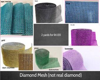2 yards rhinestone mesh