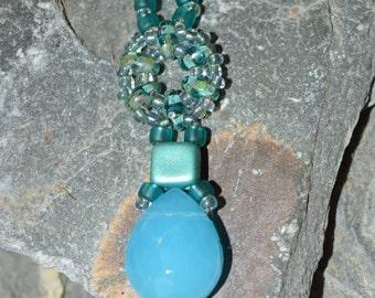 Blue glass bead pendant / necklace