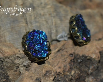 Faux druzy antique bronze stud earrings