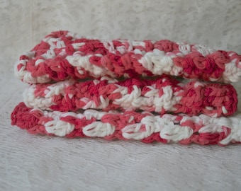 Crochet Wash Cloths  Set of 3  Dishcloths Wash Rag Red & White Cotton Spa Cloths
