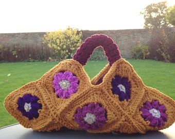Autumn colours crochet handbag