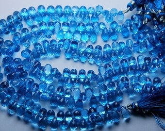 15 Pieces,Swiss Blue Topaz Micro Faceted Drops Shaped Briolettes,7-8mm,Finest Quality