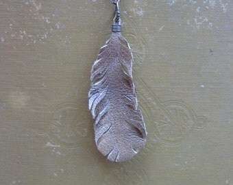 Tan/Light Brown Leather Feather Necklace Pendant