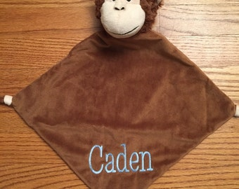 Personalized Monkey Lovey  blanket  Baby Gifts