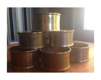 Vintage Brass Napkin Ring Holders -Made In India- 1970's -SET OF 8-