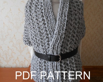 PDF KNITTING PATTERN for simple wrap vest cardigan fall winter accessory