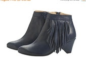 BOOTS SALE Sasha high heel Boots, handmade, Navy Blue, fringe boots, heels, leather shoes, by Tamar Shalem on etsy