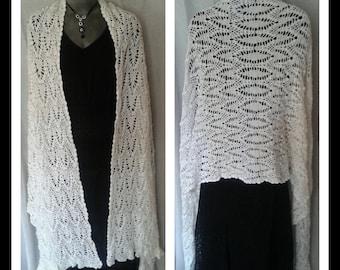 HMS ES99 Eternity shawl, wrap, white, shawl, scarf, crochet