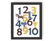 Equestrian Number Art - CHOOSE COLORS - Horse Nursery, Baby shower Gift, Equine Decor, Toddler Room, Kids Wall Art, Playroom Art, Horse baby