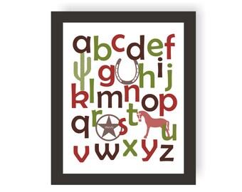 Cowboy Alphabet Art - CHOOSE COLORS - Western Baby, Toddler Room Decor, Cowboy Theme, Baby Shower Gift, western Nursery, Boys Playroom