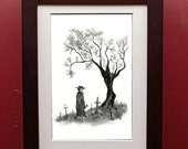The Plague Tree Print in 4 by 6 Black Frame