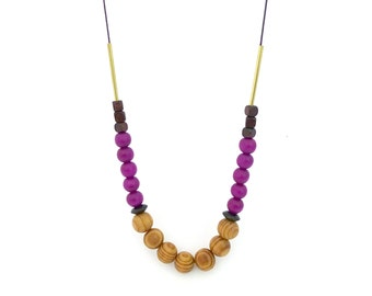 Wooden beaded necklace, purple brown necklace, minimalist necklace, extra long necklace, neutral necklace, mixed materials, gift for her