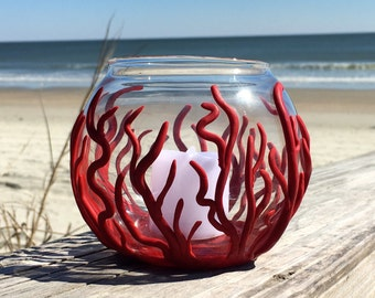 Coral Inspired Glass Votive