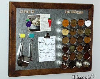 Large Magnet Board, Magnetic Spice Rack, Framed Magnetic Board