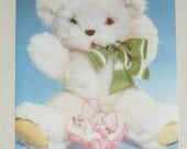 1970s Vintage Happy Birthday Card White Fluffy Teddy Bear