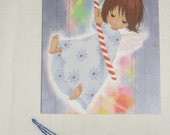 1970s Vintage Christmas Card Girl with bell pull and Stained Glass Window Peeling Angel Gluck print