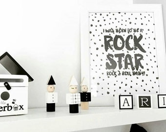 Baby Wall Art. Scandinavian. Nursery Monochrome Quote. I was born to be a Rock Star. Nursery Decor. Boy Wall Art. Black and White