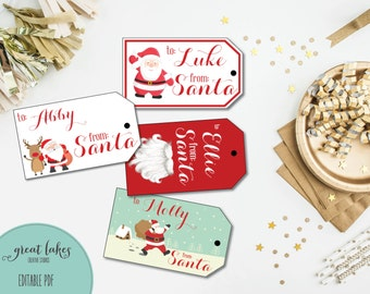 Santa Gift Tags, Christmas Gift Tags, Printable Holiday Present Tags, Holiday Gift Stickers, Printable Labels {EDITABLE + INSTANT DOWNLOAD}