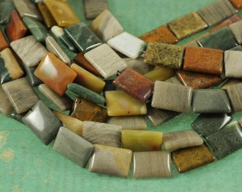 "Ocean Jasper 13x18mm Rectangle Gemstone Beads - Full 16"" Strand - About 22 Beads - Mixture of Natural Colors"