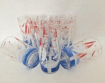 NAUTICAL SAILBOAT GLASS Tumblers - Boating Glassware - Cottage Glassware