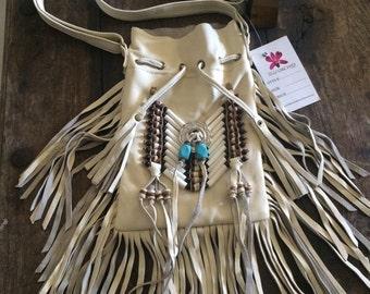 Cream leather fringe festival bags