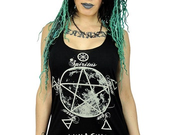 Elemental Luna Pentacle Magic Symbols Lunar Tank Top Female