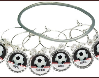 Soccer Wine Charms - Personalized Soccer Wine Charms - Glass Markers - Soccer Party Favors - Glass Tags - Soccer - Soccer Bottle Cap Charms