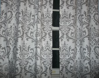 One pair gray and white damask  curtains