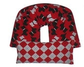 REMOVABLE COVER Neck & Shoulder Wrap - Eye Pillow Gift Set Hot Cold Therapy Pack 100% Flaxseed UNSCENTED (Scottie Dog) Red, Black, White