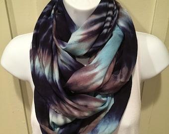 Tye dye scarf, Tie dyed infinity scarf, Hand dyed infinity scarf, Rayon scarf, Navy, blue and gray infinity scarf, circle scarf